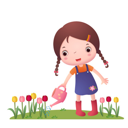 illustration of a girl watering flowers on a white background