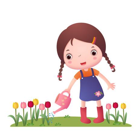 regar las plantas: Ilustración de una niña que riega las flores sobre un fondo blanco Vectores