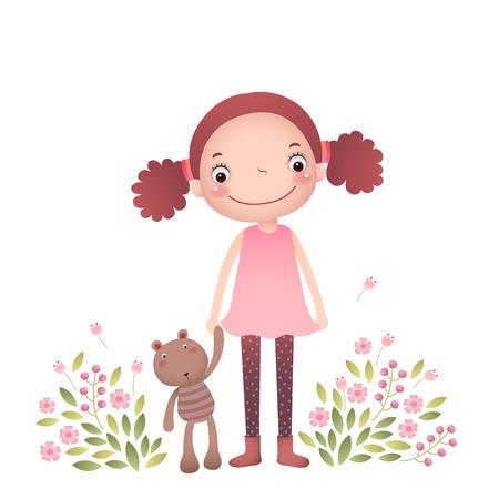 cute animals: Little girl with her teddy bear in flower garden