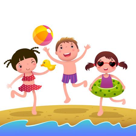 costume de bain: Une illustration de vecteur d'petites filles et un garçon sur la plage Illustration