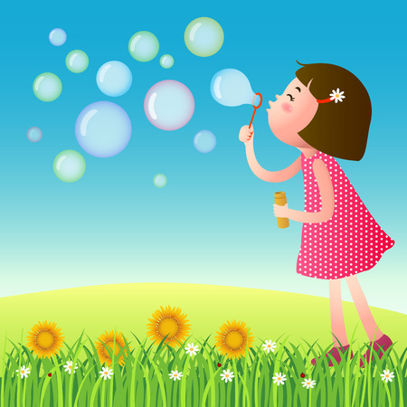 A vector illustration of cute girl blowing bubbles Vectores