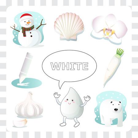 color white: Aprender las cosas de color blanco que son de color blanco