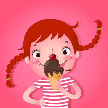 귀여운 소녀 먹는 아이스크림의 벡터 일러스트 레이 션