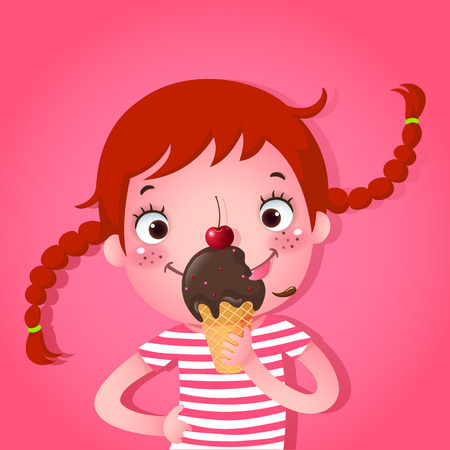 A vector illustration of cute girl eating icecream Çizim