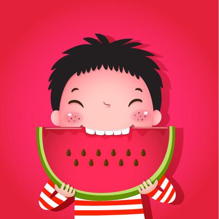 スイカを食べるかわいい男の子のベクトル イラスト