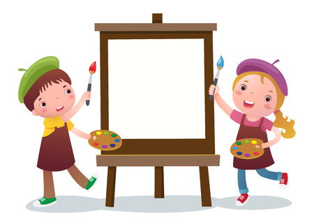 A vector illustration of cute boy and girl with painting canvas Çizim