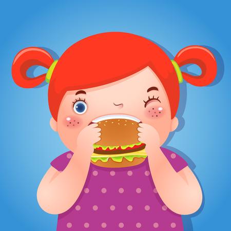 niña comiendo: Una ilustración vectorial de chica gorda comer deliciosa hamburguesa