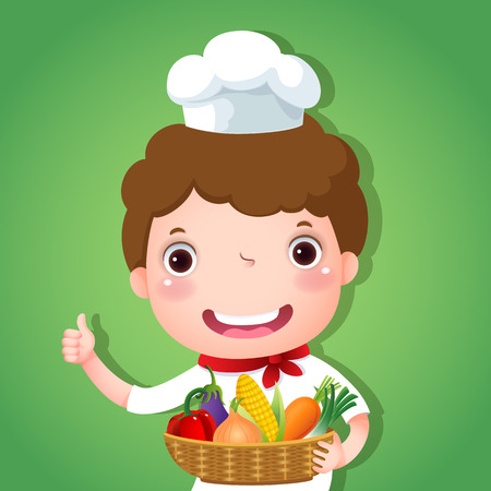 Cute boy chef holding a basket of vegetables and showing thumbs up Vector