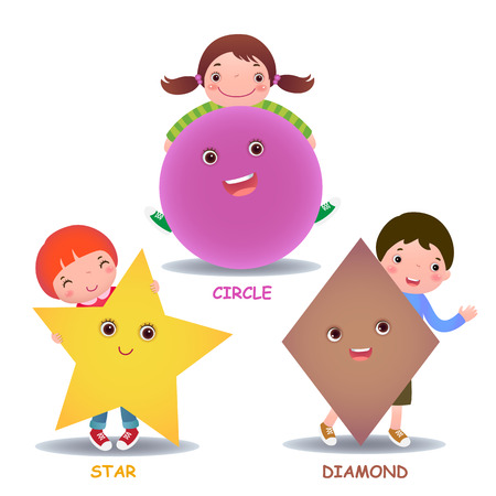 shapes cartoon: Cute little cartoon kids with basic shapes star circle diamond for children education