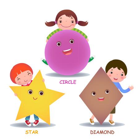 kinder: Lindos ni�os peque�os dibujos animados con formas b�sicas estrella c�rculo de diamantes para la educaci�n infantil