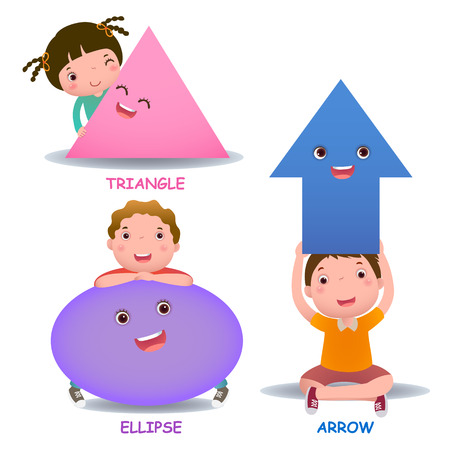 kindergarten education: Cute little cartoon kids with basic shapes ellipse arrow triangle for children education