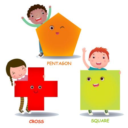 kinder: Lindos niños pequeños dibujos animados con formas básicas cruzan cuadrado pentágono para educación de los niños Vectores