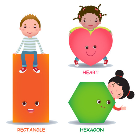 Cute little cartoon kids with basic shapes heart hexagon rectangle for children education Illustration