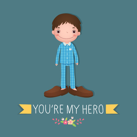 happy people: Cute boy wearing in his fathers shoes. Creative concept for Happy Fathers Day. Illustration