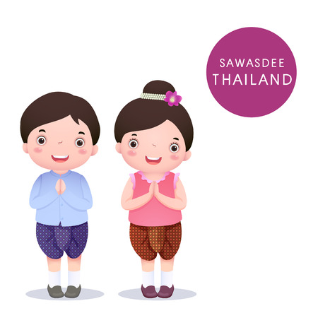 costumes: A vector illustration of Thai kids in traditional costume and Sawasdee on white background