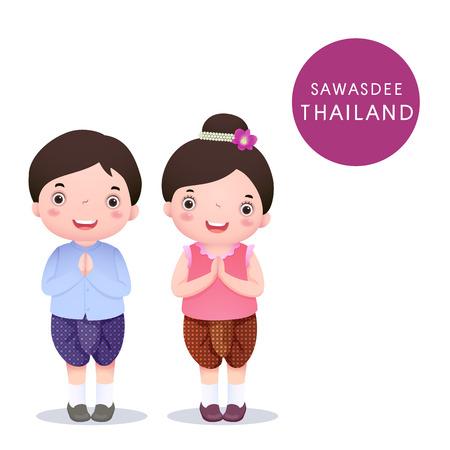 personas saludandose: Una ilustración vectorial de niños tailandeses con el traje tradicional y Sawasdee en el fondo blanco