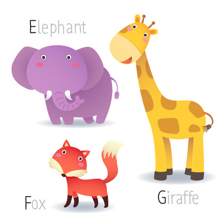 e alphabet: Illustration of alphabet with animals from E to G Illustration