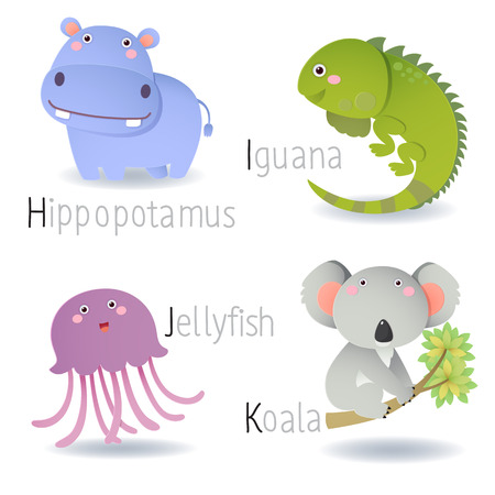 isolated animal: Illustration of alphabet with animals from H to K
