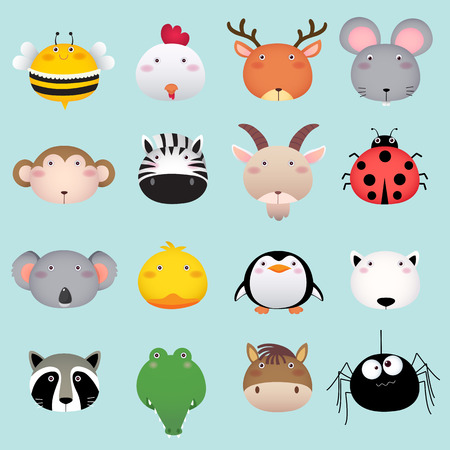 mariquitas: Ilustración de una colección de cabeza lindo animal set 2