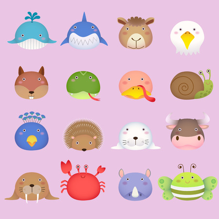 Illustratie van een leuke dierlijke hoofd collectie set 3