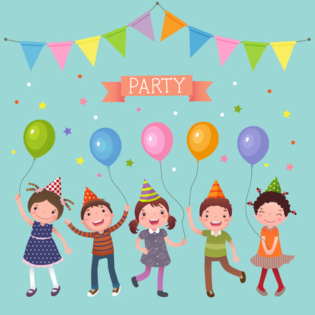 Illustration of kids holding colorful balloons at a party Illustration