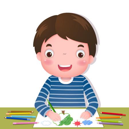 Illustratie van schattige jongen tekenen met kleurrijke potloden