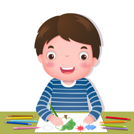 Illustration of cute boy drawing with colourful pencils Illustration