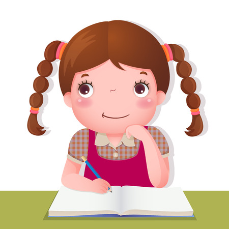 children in class: Illustration of cute girl thinking while working on her school project