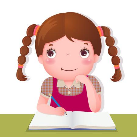 Ilustrace roztomilé dívky myšlení při práci na její školní projekt Ilustrace