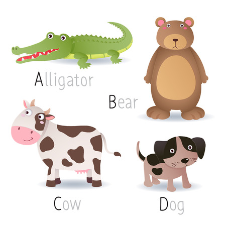 Illustration of alphabet with animals from A to D Set 2