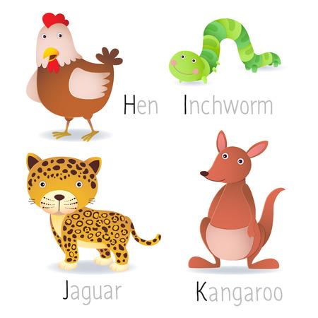 jaguar: Ilustraci�n del alfabeto con los animales de H a K Set 2