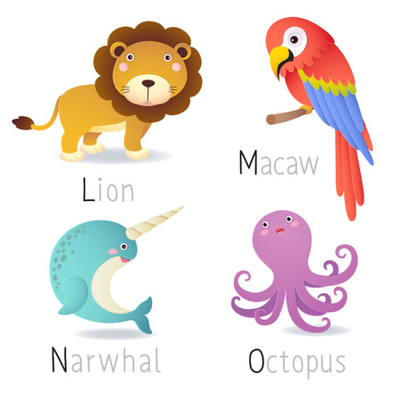 l: Illustration of alphabet with animals from L to O Set 2