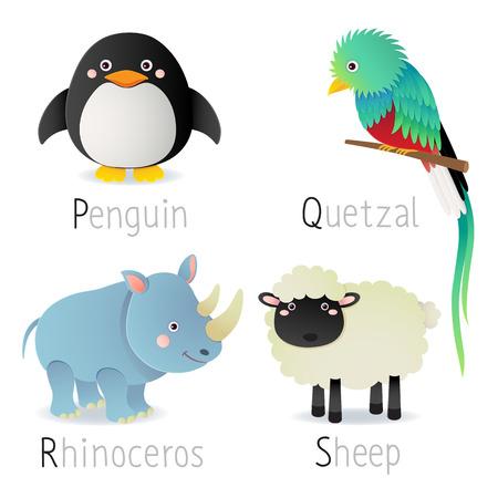 animaux zoo: Illustration de l'alphabet avec des animaux de P � S Set 2