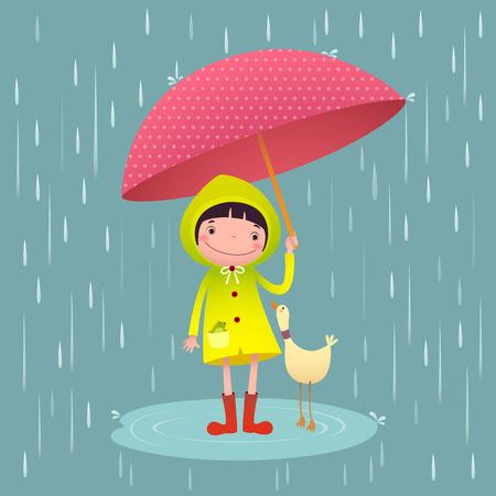 estado del tiempo: Ilustración de la chica linda y amigos con el paraguas en la temporada de lluvias
