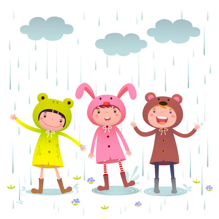 Illustration of kids wearing colorful raincoats and boots playing on rainy day Çizim