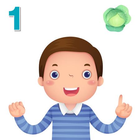 numeros: Niños material de aprendizaje. Aprenda número y contando con la mano los niños que muestra el número uno Vectores