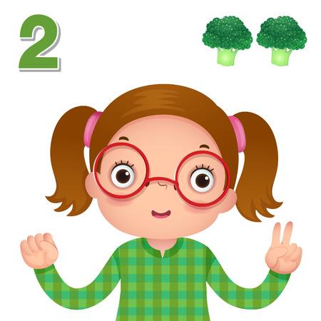 子供学習教材。番号と番号の 2 つを示す子供の手でカウントを学ぶ