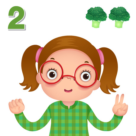 education cartoon: Kids learning material. Learn number and counting with kids hand showing the number two Illustration