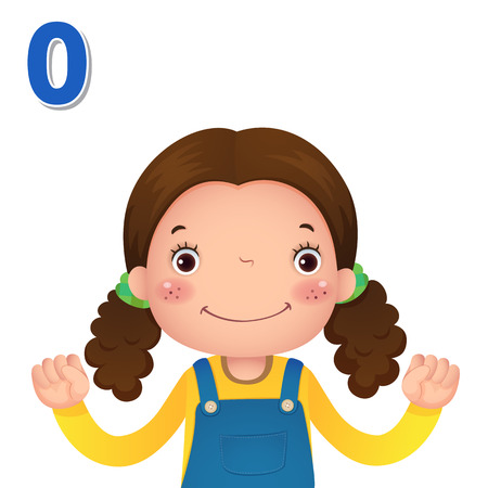 Kids learning material. Learn number and counting with kids hand showing the number zero 向量圖像