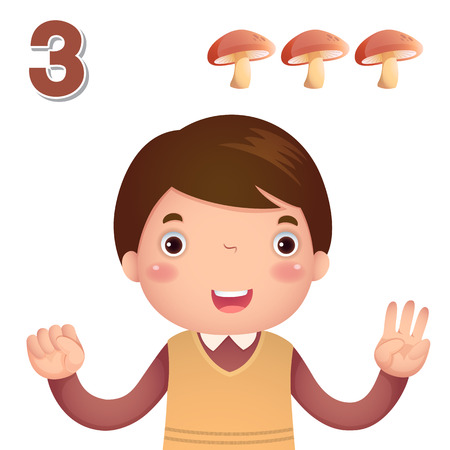 education cartoon: Kids learning material. Learn number and counting with kids hand showing the number three Illustration