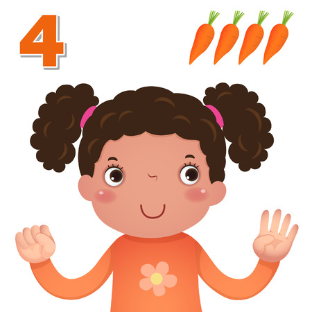 cartoon carrot: Kids learning material. Learn number and counting with kids hand showing the number four Illustration
