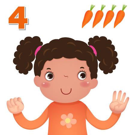 dedo: Miúdos material de aprendizagem. Saiba número e contando com as crianças mão que mostra o número quatro