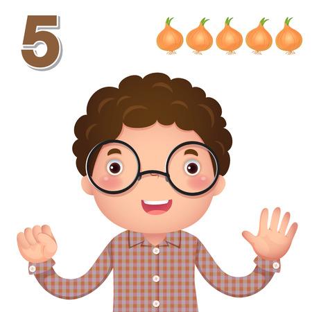 simbolos matematicos: Niños material de aprendizaje. Aprenda número y contando con la mano los niños que muestra el número cinco