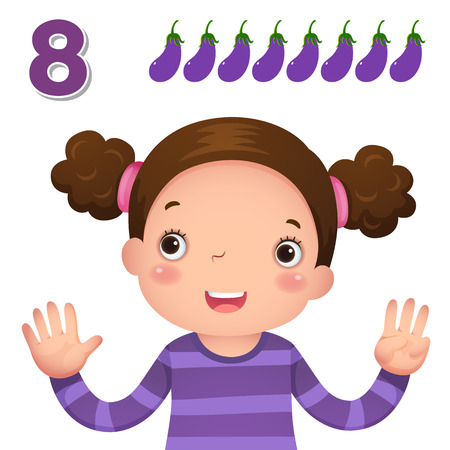 cute girl cartoon: Kids learning material. Learn number and counting with kids hand showing the number eight
