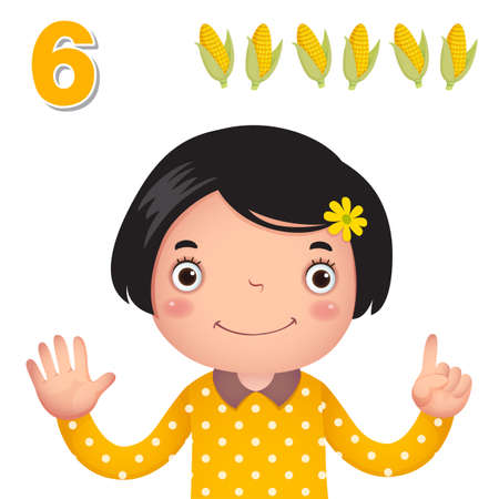 elote caricatura: Kids learning material. Learn number and counting with kids hand showing the number six Vectores