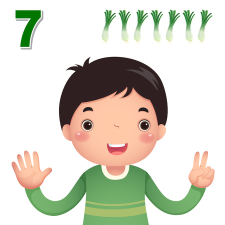 mathematics: Kids learning material. Learn number and counting with kids hand showing the number seven
