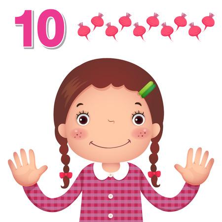 子供学習教材。数と数の 10 を示す子供の手でカウントを学ぶ