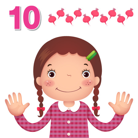 cartoon math: Kids learning material. Learn number and counting with kids hand showing the number ten Illustration