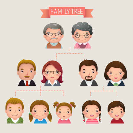 cartoon school girl: Cartoon vector illustration of family tree