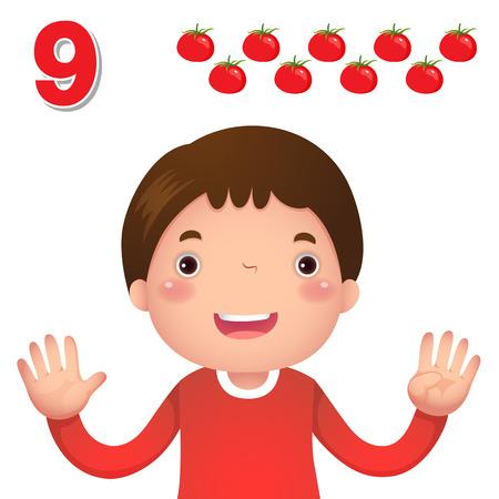 numero nueve: Niños material de aprendizaje. Aprenda número y contando con la mano los niños que muestra el número nueve